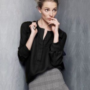 J. Crew Covered Button Crepe Blouse in Black